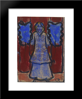 Blue Fan Dancer: Modern Black Framed Art Print by Christian Rohlfs