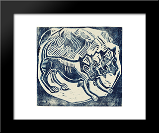 Cerberus: Modern Black Framed Art Print by Christian Rohlfs