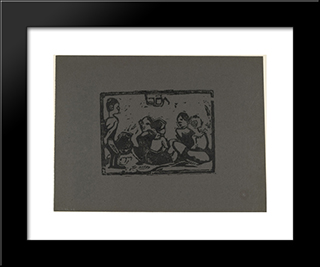 Children: Modern Black Framed Art Print by Christian Rohlfs