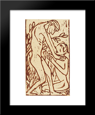 Couple I: Modern Black Framed Art Print by Christian Rohlfs