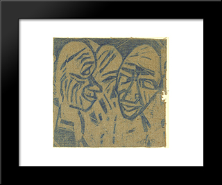 Large Heads (2 Heads I): Modern Black Framed Art Print by Christian Rohlfs
