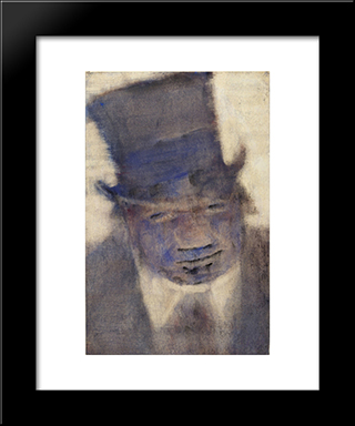 Man In A Top Hat: Modern Black Framed Art Print by Christian Rohlfs