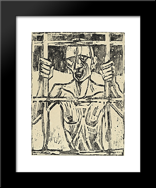 Prisoner: Modern Black Framed Art Print by Christian Rohlfs