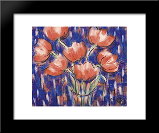 Rote Tulpen: Modern Black Framed Art Print by Christian Rohlfs