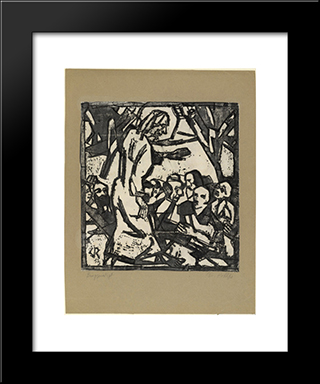 Sermon On The Mount: Modern Black Framed Art Print by Christian Rohlfs