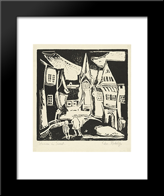 Street In Soest: Modern Black Framed Art Print by Christian Rohlfs