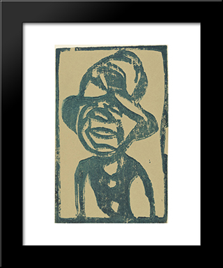 Street Urchin (Head With Hat): Modern Black Framed Art Print by Christian Rohlfs