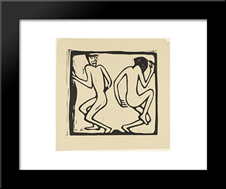 Two Dancers: Modern Black Framed Art Print by Christian Rohlfs