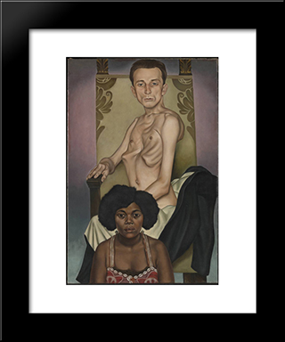 Agosta, The Pigeon - Chested Man, And Rasha, The Black Dove: Modern Black Framed Art Print by Christian Schad