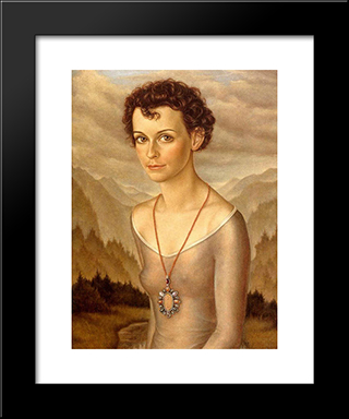 Bettina: Modern Black Framed Art Print by Christian Schad