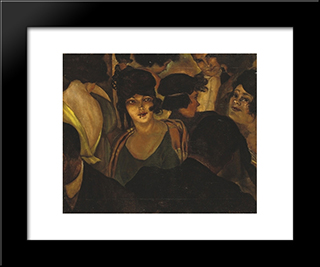Cafe D'Italia: Modern Black Framed Art Print by Christian Schad