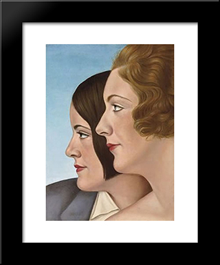 Friends: Modern Black Framed Art Print by Christian Schad
