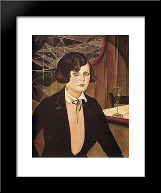 Lotte: Modern Black Framed Art Print by Christian Schad