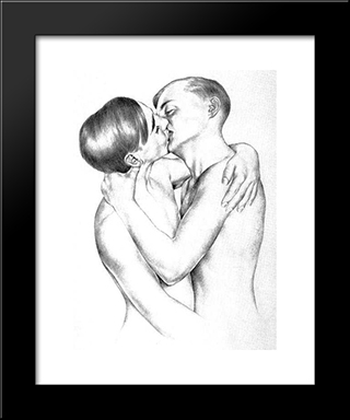 Loving Boys: Modern Black Framed Art Print by Christian Schad