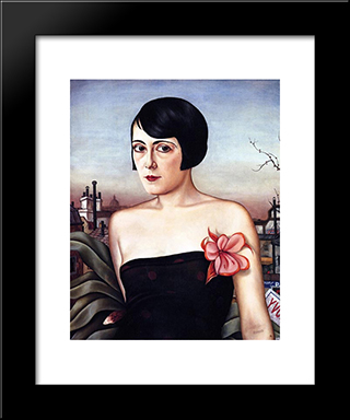 Maika: Modern Black Framed Art Print by Christian Schad
