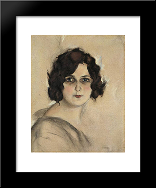 Marcella: Modern Black Framed Art Print by Christian Schad