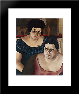 Maria And Annunziata 'From The Harbour': Modern Black Framed Art Print by Christian Schad