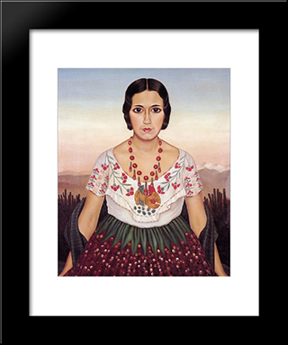 Mexican Girl: Modern Black Framed Art Print by Christian Schad