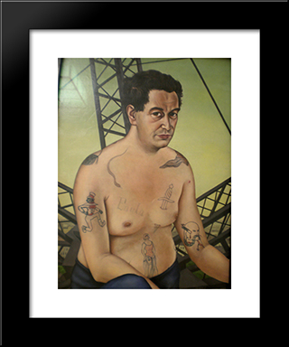 Portrait Of Egon Erwin: Modern Black Framed Art Print by Christian Schad