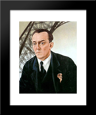 Portrait With Eiffel Tower: Modern Black Framed Art Print by Christian Schad