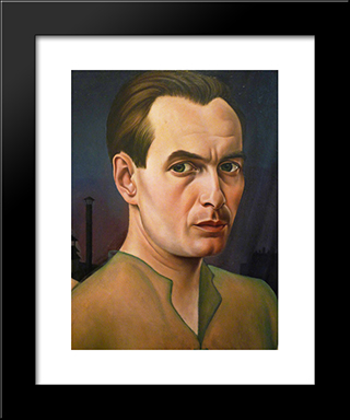 Self - Portrait: Modern Black Framed Art Print by Christian Schad
