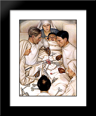 The Operation: Modern Black Framed Art Print by Christian Schad