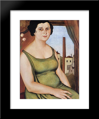 Woman From Pozzuoli: Modern Black Framed Art Print by Christian Schad