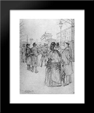 At The Brandenburg Gate: Modern Black Framed Art Print by Christian Wilhelm Allers