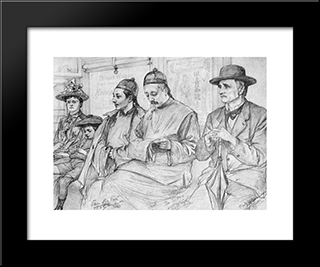 Chinese People On The Underground - Berlin: Modern Black Framed Art Print by Christian Wilhelm Allers