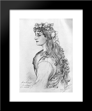 Portrait Of Amanda Lindner: Modern Black Framed Art Print by Christian Wilhelm Allers