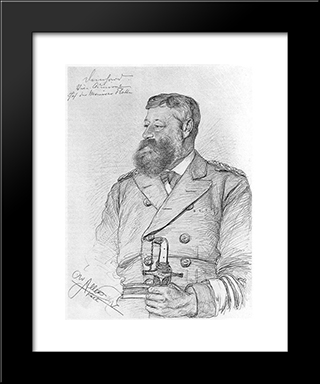 Portrait Of Carl-August Deinhard: Modern Black Framed Art Print by Christian Wilhelm Allers