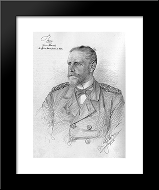 Portrait Of Eduard Von Knorr: Modern Black Framed Art Print by Christian Wilhelm Allers