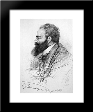 Portrait Of Ernst Schweninger: Modern Black Framed Art Print by Christian Wilhelm Allers