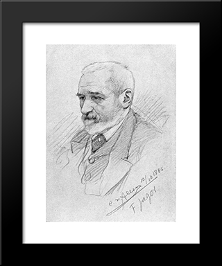 Portrait Of Fedor Jagor: Modern Black Framed Art Print by Christian Wilhelm Allers