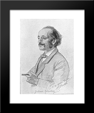 Portrait Of Julius Rodenberg: Modern Black Framed Art Print by Christian Wilhelm Allers