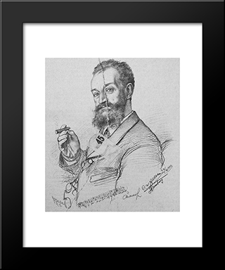 Portrait Of Karl Millocker: Modern Black Framed Art Print by Christian Wilhelm Allers