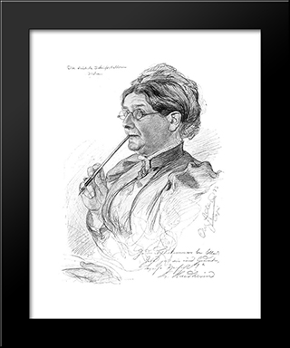Portrait Of Luise Haidheim: Modern Black Framed Art Print by Christian Wilhelm Allers