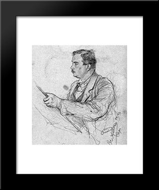 Self-Portrait: Modern Black Framed Art Print by Christian Wilhelm Allers