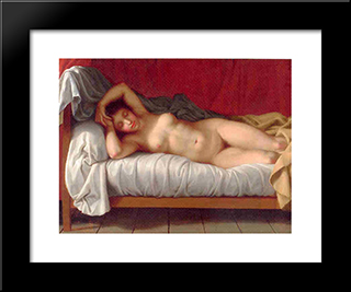 Lying Model In Bed: Modern Black Framed Art Print by Christoffer Wilhelm Eckersberg