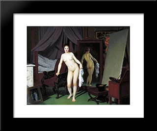 Model In The Studio: Modern Black Framed Art Print by Christoffer Wilhelm Eckersberg