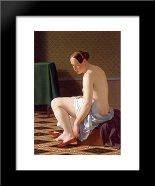 Nude Woman Putting On Her Slippers: Modern Black Framed Art Print by Christoffer Wilhelm Eckersberg