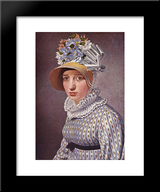 Portrait Of Anna Maria Magnani: Modern Black Framed Art Print by Christoffer Wilhelm Eckersberg