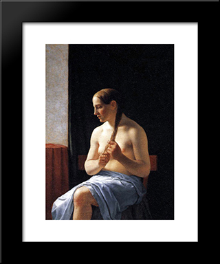 Seated Nude Model: Modern Black Framed Art Print by Christoffer Wilhelm Eckersberg