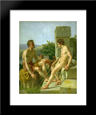 Sitting Young Man: Modern Black Framed Art Print by Christoffer Wilhelm Eckersberg