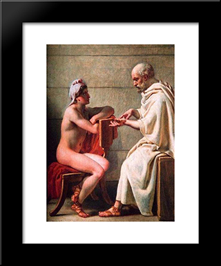 Socrates And Alcibiades: Modern Black Framed Art Print by Christoffer Wilhelm Eckersberg