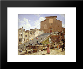 The Marble Staircase Which Leads Up To S. Maria In Aracoeli In Rome: Modern Black Framed Art Print by Christoffer Wilhelm Eckersberg