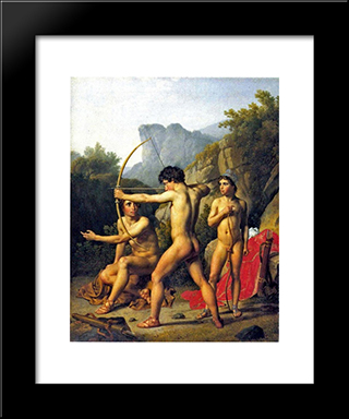 Three Spartan Boys: Modern Black Framed Art Print by Christoffer Wilhelm Eckersberg