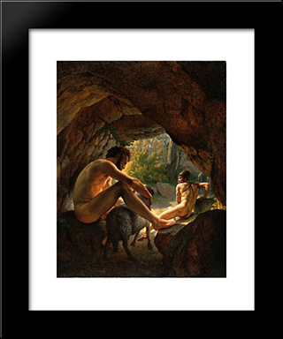 Ulysses Fleeing The Cave Of Polyphemus: Modern Black Framed Art Print by Christoffer Wilhelm Eckersberg