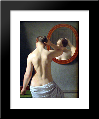 Woman Standing In Front Of A Mirror: Modern Black Framed Art Print by Christoffer Wilhelm Eckersberg