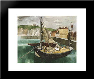 A Fishing Boat In Dieppe Harbour: Modern Black Framed Art Print by Christopher Wood
